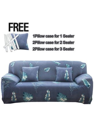 Cyan color Sofas . 3 Seater Milk shreds Printed Sofa Cover W/ Foam Stick Stretch Full Cover Universal Cover -