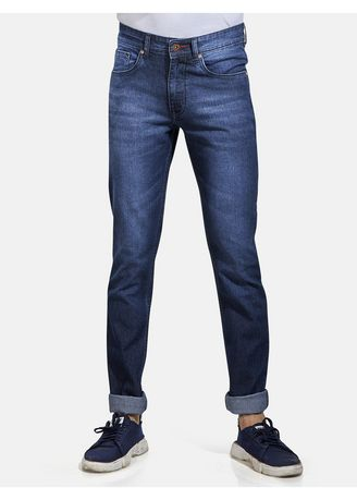 Blue color Jeans . ROXTON - MID-Rise Tapered Jeans (RX1050_DK-BL) -