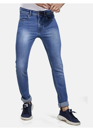 Light Blue color Jeans . ROXTON - MID-Rise Tapered Jeans (RX1051_LT-BLUE) -
