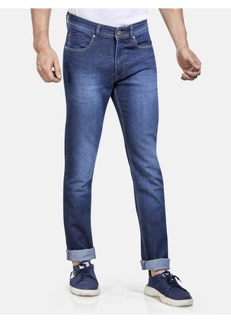Blue color Jeans . ROXTON - MID-Rise Tapered Jeans (RX1052_DK-BL) -