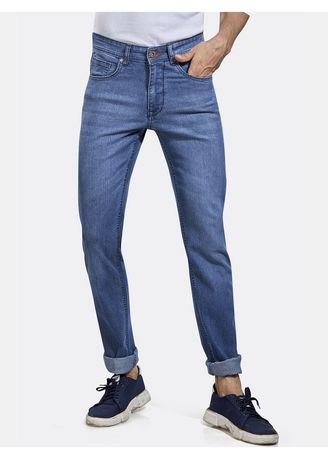 Light Blue color Jeans . ROXTON - MID-Rise Tapered Jeans (RX1056_LT-BLUE) -