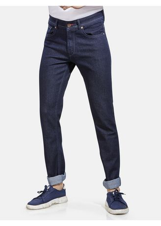 Navy color Jeans . ROXTON - MID-Rise Tapered Jeans (RX1057_NAVY) -