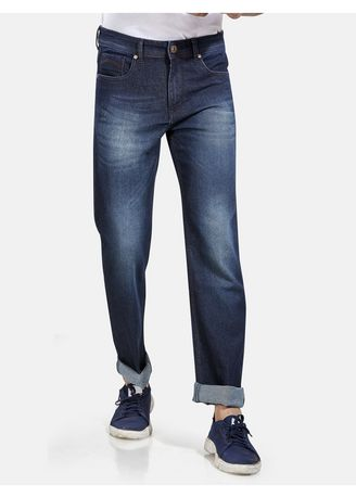 Navy color Jeans . ROXTON - MID-Rise Regular Fit Jeans (RX1065_NAVY-BL) -
