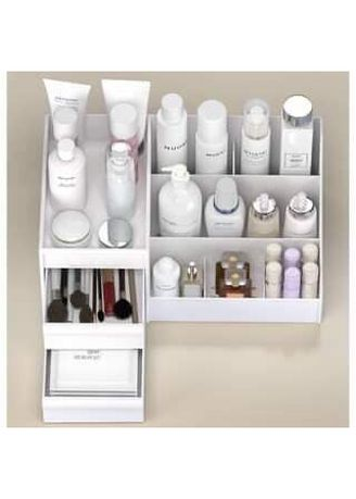 White color Other . Cosmetic Organizer Table Stationery Organizer with Drawer Home Organizer -