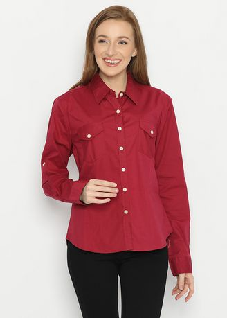 Tops and Tunics . Basic Long Sleeve Striped Shirt Maroon Mobile Power Ladies - F8374D -