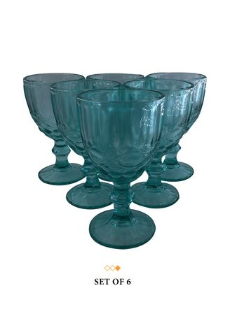 Aqua color Barware . 79042 Vintage Goblet Glass, 250ml -