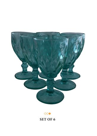Aqua color Barware . 79035 Big Diamond Cut Goblet Glass, 250ml (Set of 6) -