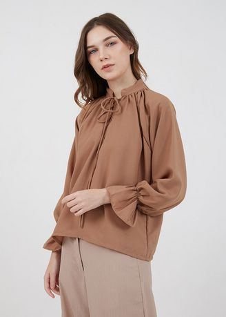 Brown color Tops and Tunics . Sophie Molika Plain Blouse Brown -