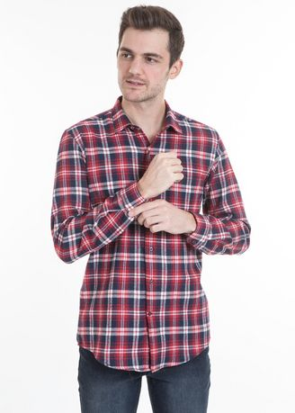 Red color Casual Shirts . MANLY Kemeja Flanel Slim Fit Bocca Red -