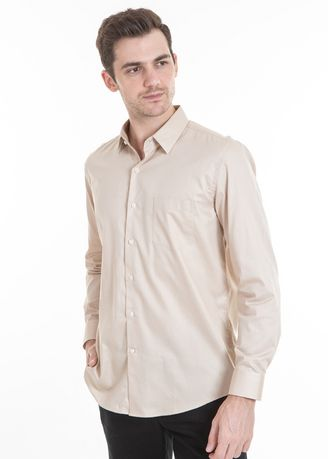 Beige color Casual Shirts . MANLY Kemeja Regular Fit Biond Cream -