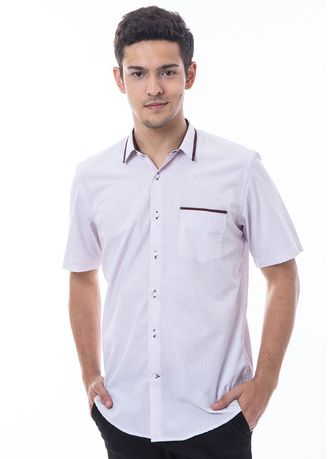 White color Casual Shirts . MANLY Kemeja Slim Fit Bian White -