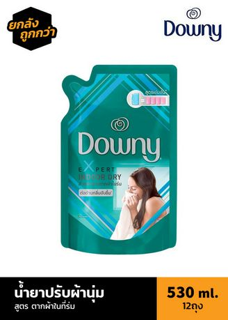 No Color color Laundry . [ลัง 12 ถุง] Downy น้ำยาปรับผ้านุ่มสูตรพิเศษ Expert Indoor Dry 530 ml. -
