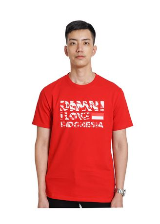 Red color T-Shirts and Polos . Tee Sign Peta Indonesia Red Male -
