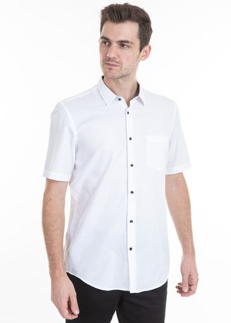 White color Casual Shirts . MANLY Kemeja Slim Fit Axton White -