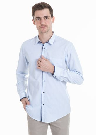 Blue color Casual Shirts . MANLY Kemeja Slim Fit Wilcow Blue -