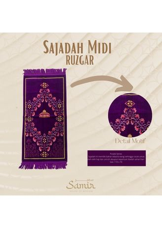 Purple color Sholat Equipment . Sajadah Turkey Midi Ruzgar 55x110 Purple -