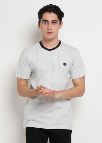 Misty White Blue color Kaus Oblong & Polo . POLICE T-Shirt Patch Polos Pria -