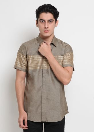 Coklat color Casual Shirts . POLICE Kemeja Border Regular Fit Pria -