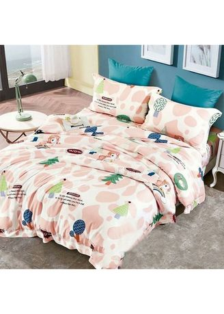 White color Bedroom . Sleep Buddy Set Sprei Pink Pine Tencel Modal Single Size -