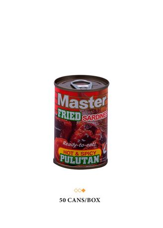 No Color color  . Master Fried Sardines Hot & Spicy Pulutan, 155g (50 Cans/Box) -