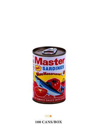 No Color color Canned Food . Master Sardines Hot in Tomato Sauce with Chili, 155g (100 Cans/Box) -