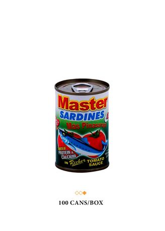 No Color color Canned Food . Master Sardines Green in Tomato Sauce, 155g (100 Cans/Box) -