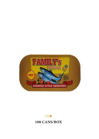 No Color color Canned Food . Family's Brand Sardines Spanish Style Club Can, 120g (100 Cans/Box) -