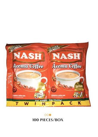 No Color color Coffee . Nash Twin Pack Aroma in Taste 3-in-1 Coffee, 50g (100 Pieces/Box) -