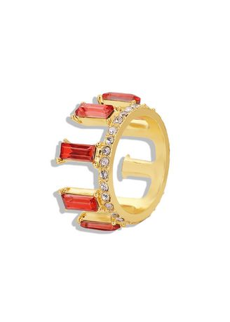 Red color  . Crystal Gold Plated Ring -