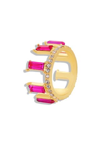 Pink color  . Crystal Gold Plated Ring -