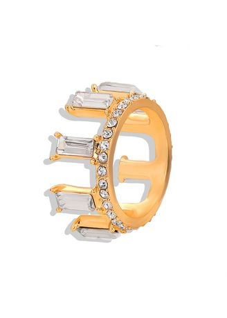 White color  . Crystal Gold Plated Ring -