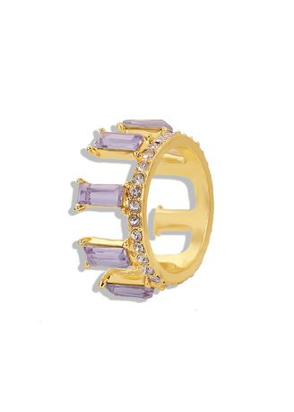 Purple color  . Crystal Gold Plated Ring -