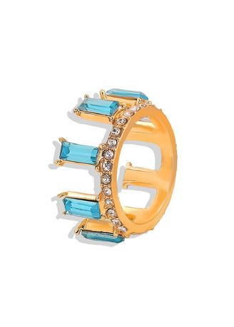 Blue color  . Crystal Gold Plated Ring -