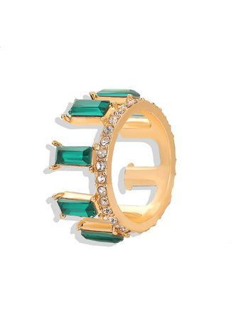 Green color  . Crystal Gold Plated Ring -