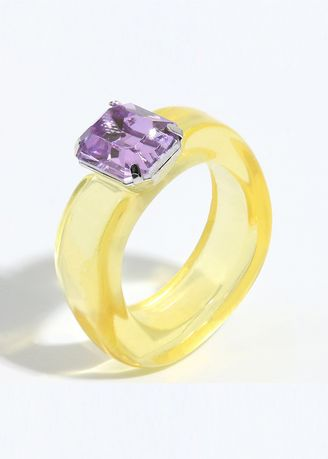 Yellow color  . Resin Crystal Stone Ring -
