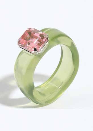 Green color  . Resin Crystal Stone Ring -