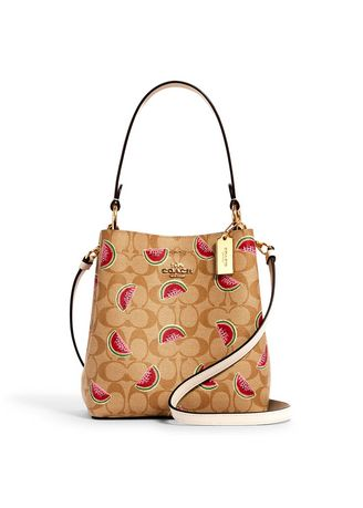 IM/LIGHT KHAKI/RED MULTI color กระเป๋าสะพาย . กระเป๋าสะพายข้าง COACH 1619 SMALL TOWN BUCKET BAG IN SIGNATURE CANVAS WITH WATERMELON PRINT (IMR0Q) [1619IMR0Q-MA] -