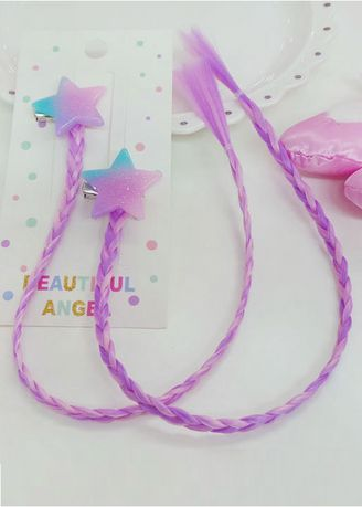 Purple color Hair Accessories . Star Braided Clip On Wig Piece -