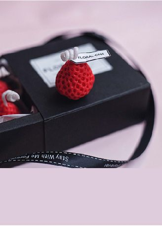 Red color Home Decor . Mini Strawberry Candle Pack -