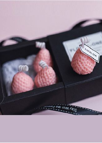 Pink color Home Decor . Mini Strawberry Candle Pack -