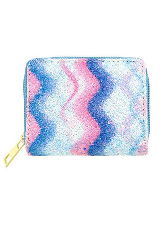 Blue color Wallets and Clutches . Swirl Pattern Shimmery Wallet -