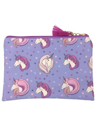 Pink color Wallets and Clutches . Unicorn Print Cosmetic Bag -