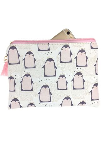 White color Wallets and Clutches . Penguin Print Cosmetic Bag -
