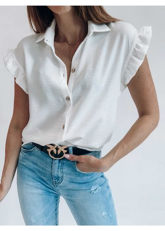White color Tees & Shirts . Cap Sleeve Solid Shirt -