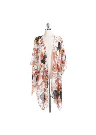 Multi color Shrugs . Printed Batwing Sleeve Open-Front Shrug -
