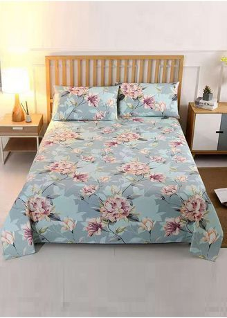 Blue color Bedroom . Printed Bed Sheet and Pillow Case Set -