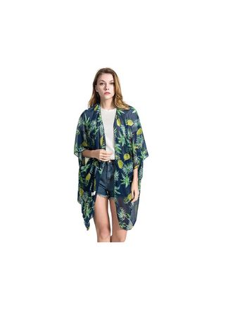 Navy color Shrugs . Pineapple Printed Batwing Shrug -