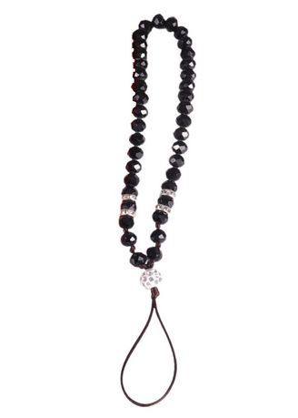 Black color Cases & Covers . Short Lanyard Beaded Phone Strap -