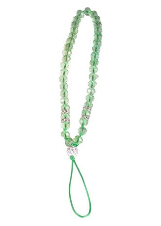 Green color Cases & Covers . Short Lanyard Beaded Phone Strap -
