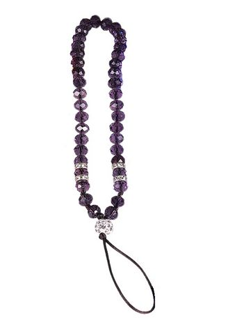 Purple color Cases & Covers . Short Lanyard Beaded Phone Strap -